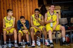 13.10.2019, Oldenburg, Sporthalle Haarenufer: JBBL | EWE Baskets Juniors - Phoenix Hagen Youngsters  //  Elias NOLD (#9 EWE Baskets Juniors/JBBL), Zayana KIKUEMBA (#15 EWE Baskets Juniors/JBBL), Boston SCHROEDER (#8 EWE Baskets Juniors/JBBL)  || Foto: Erik Hillmer